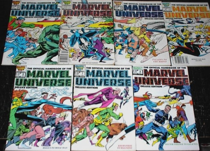 OFFICIAL HANDBOOK of the MARVEL UNIVERSE Deluxe Lot of 7 Marvel Comics