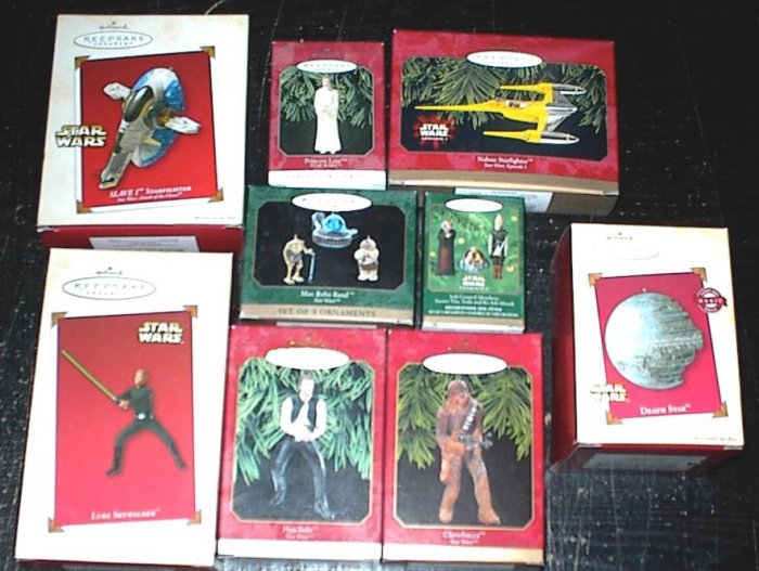 STAR WARS Lot of 8 Hallmark Ornaments DARTH VADER CHEWBACCA HAN SOLO OBI-WAN KENOBI PRINCESS LEIA