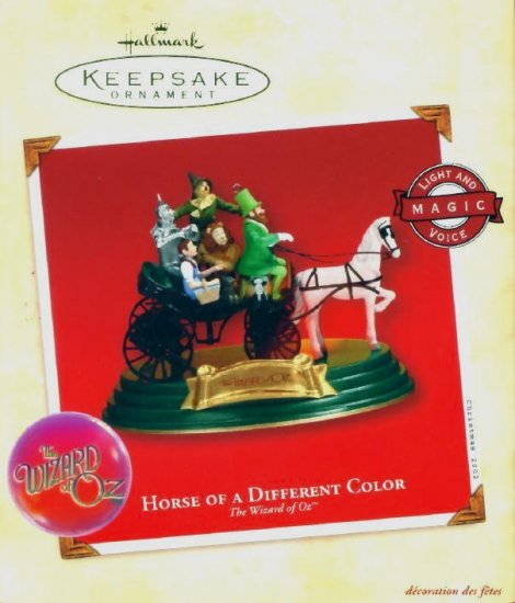 WIZARD of OZ HORSE of a DIFFERENT COLOR Hallmark Christmas Ornament 2002