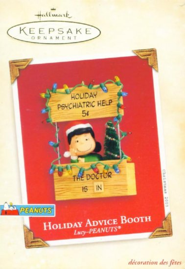PEANUTS LUCY HOLIDAY ADVICE BOOTH Hallmark Ornament 2003