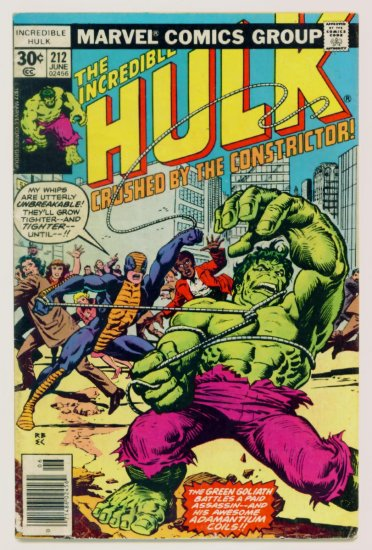 INCREDIBLE HULK #212 Marvel Comics 1977 First Appearance Constrictor