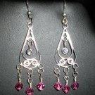 Earrings, Chandelier, Swarovski Crystal, Sterling Silver, Handmade