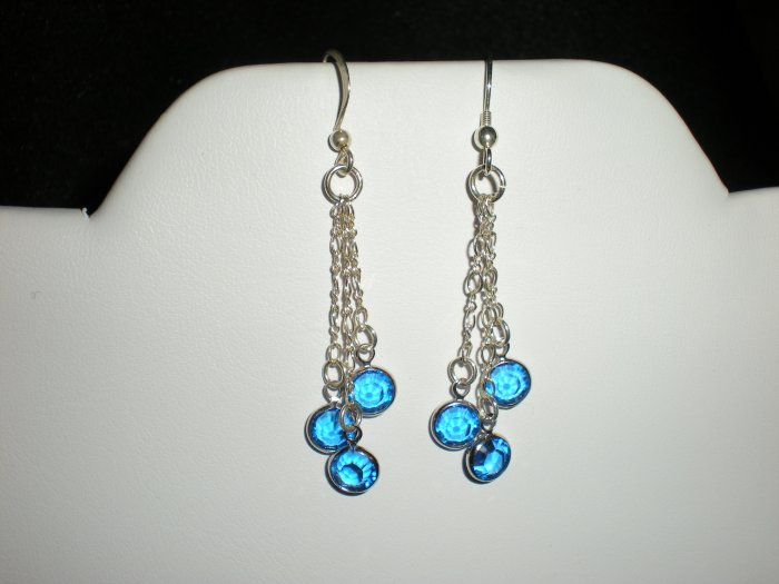 Earrings, Chandelier, Swarovski Crystal, Sterling Silver, Handmade