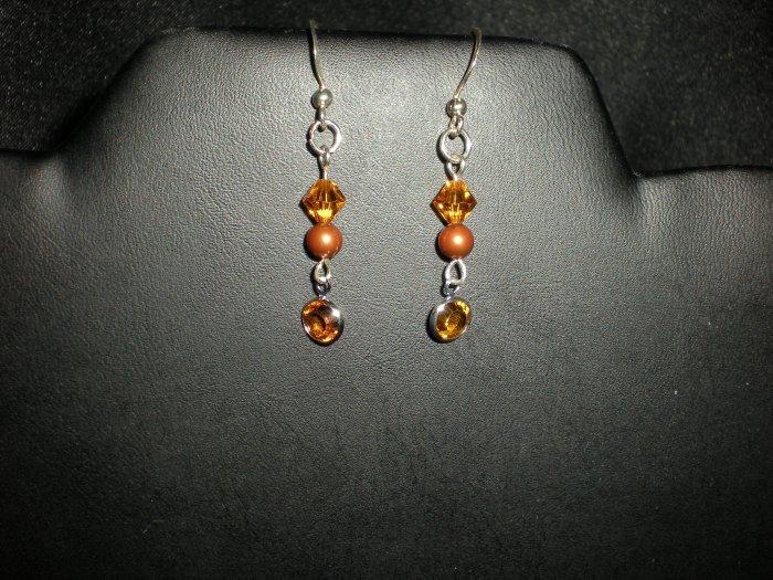 Earrings, Swarovski Crystal, Sterling Silver, Handmade