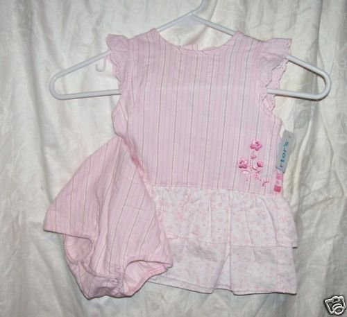 SIZE 12 MTHS PINK AND WHITE STRIPE FLORAL CARTERS GIRL