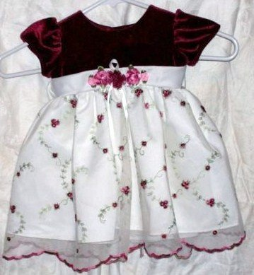 YOUNGLAND GIRLS SIZE 12 MONTH DRESS CREAM & BURGANDY
