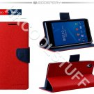 Genuine Mercury Goospery Fancy Diary Wallet Case Cover for Sony Xperia Z2 Red+Navy