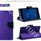 Genuine Mercury Goospery Fancy Diary Wallet Case Cover for Sony Xperia Z2 Purple+Navy