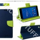 Genuine Mercury Goospery Fancy Diary Wallet Case Cover for Sony Xperia Z2 Navy+Lime