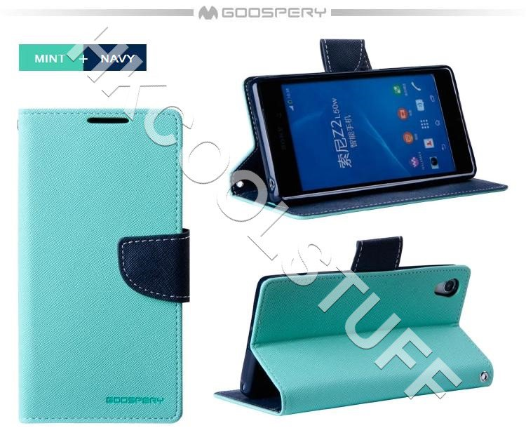 Genuine Mercury Goospery Fancy Diary Wallet Case Cover for Sony Xperia Z2 Mint+Navy