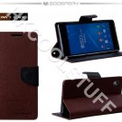 Genuine Mercury Goospery Fancy Diary Wallet Case Cover for Sony Xperia Z2 Brown+Black