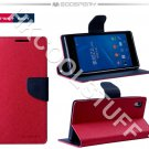Genuine Mercury Goospery Fancy Diary Wallet Case Cover for Sony Xperia Z2 Hotpink+Navy