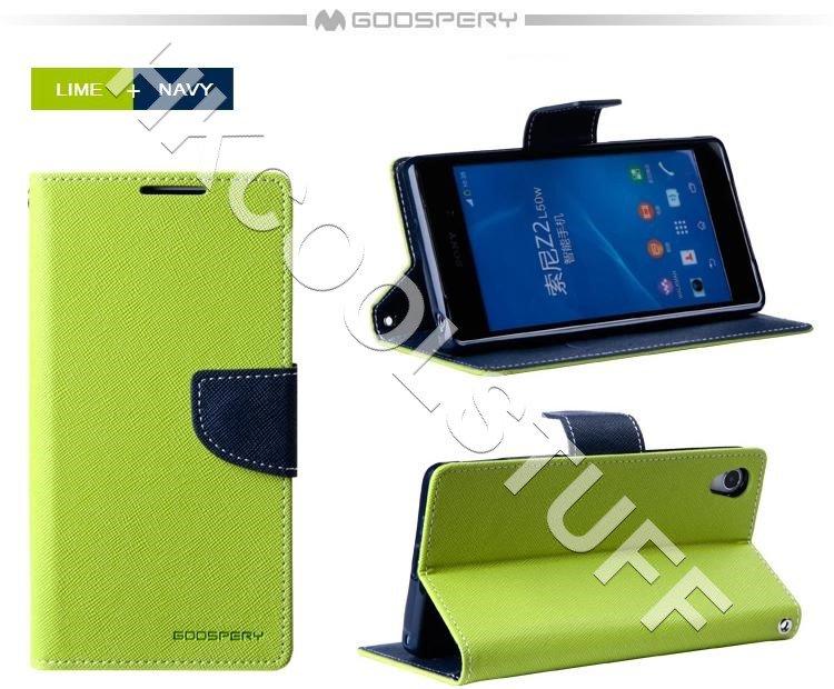 Genuine Mercury Goospery Fancy Diary Wallet Case Cover for Sony Xperia Z2 Lime+Navy