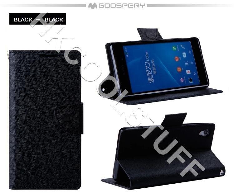 Genuine Mercury Goospery Fancy Diary Wallet Case Cover for Sony Xperia Z2 / L50w Black