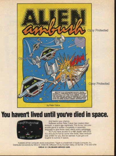 Alien Ambush 1982 Vintage Computer Game Ad