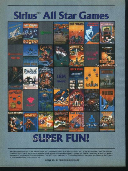 Sirus 1982 All Star Games Ad