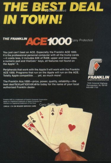 The Franklin ACE 1982 Vintage Computer Ad