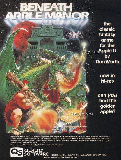 Beneath Apple Manor 1982 Vintage Computer Game Ad