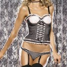 Leg Avenue LA-8060 Size M 2Pc Underwire Lace Up Fronts Bustier W Garter