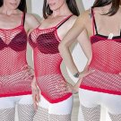 Red Sexy FISHNET Shirt Club Wear Spaghetti Strap Stretchy Tank Top