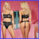 Leg Avenue 8408 2Pc Lace Crop Top and Lace Up Front Thong