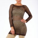 Brown Sexy Fishnet Shirt Club Wear Long Sleeve GOGO Dance Top Blouse