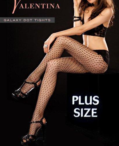 PLUS Size 140-190lbs Black Fishnet GALAXY DOT TIGHTS Hosiery