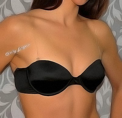 30C Black Strapless Invisible Multiway Push Up Clear Back Strap Bra