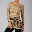 Beige Sexy Fishnet Shirt Club Wear Long Sleeve GOGO Dance Top Blouse