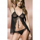 Size M/L Black 2pc Sheer Babydoll with Matching G-string