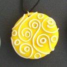 Yellow Swirls and dots Pendant