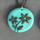 Turquoise and Black Flower Pendant