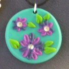 Teal Pendant with Purple flowers