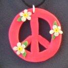 Hot Pink Peace Pendant