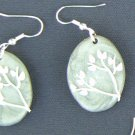 Silver and White Floral Earrings
