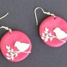 Pretty in Pink Bird Earrings