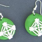Green and white lace earrings