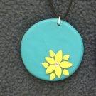 Yellow Flower Pendant w/ Rhinestone
