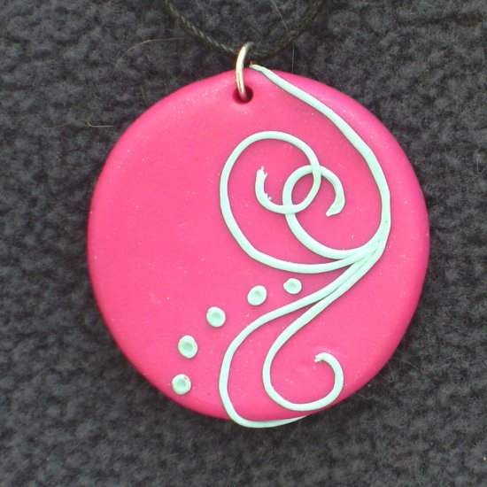 Bright Pink Pendant wth light blue detail