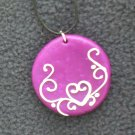 Fushia Pendant with heart detail