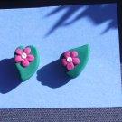 Pink Daisy Post Earrings