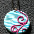 Teal striped/ hot pink swirl pendant