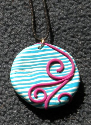 Teal striped/ hot pink swirl pendant