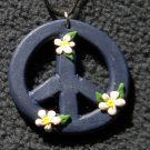 Navy blue peace sign pendant
