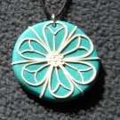 Teal Floral Design pendant