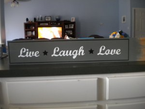 Hand painted Live Laugh Love sign