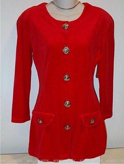 FITTED Blazer vintage PLUSH VELOUR Jacket orange red swirl buttons size 6