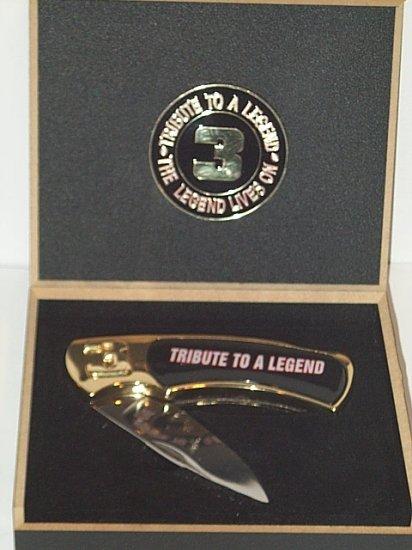 Dale Earnhardt #3 folding pocket knife & case Tribute to a Legend NASCAR racing set