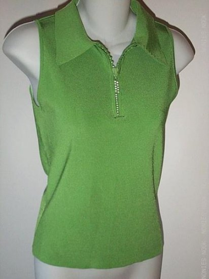 GREEN stretch TOP sleeveless SLINKY bling clubbing SHIRT size small (S)
