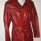 FREE SHIPPING Trench Coat braided TRIM belted lined MAROON soft faux leather look 8